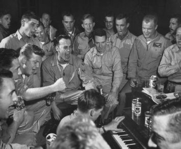 U.S. Air Force fighter pilots enjoy a break from the Korean War, in early 1953. Courtesy of egrandcirque.tumblr.com